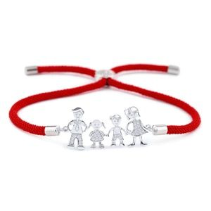 Jewelry - NWT Silver Family Mom Dad Kids Red String Bracelet